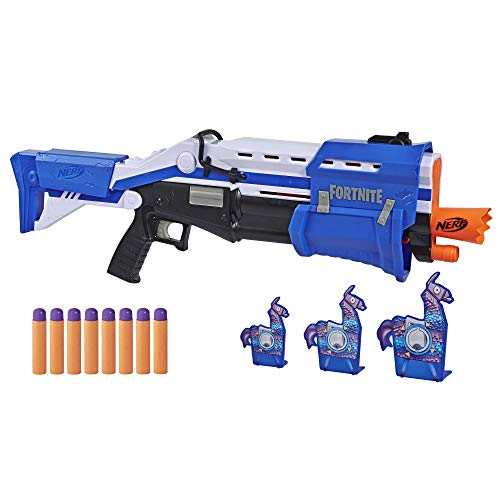 Hasbro Nerf E7065EU4 TS Pump-Action Blaster, 8 Nerf Mega Fortnite Darts, Dartaufbewahrungsfach – Für...