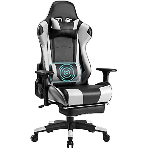 Wolmics Memory-Schaum Gaming Stuhl mit Fußstütze, Verstellbare Kopfstütze und Lordosenstütze,Ergonomische...