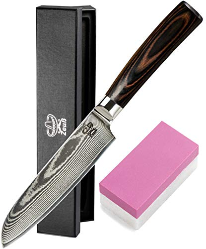 Zeuß L Küchenmesser Damastmesser (24 cm) - Profimesser - 67 Schichten - Damaststahl - Allzweckmesser -...