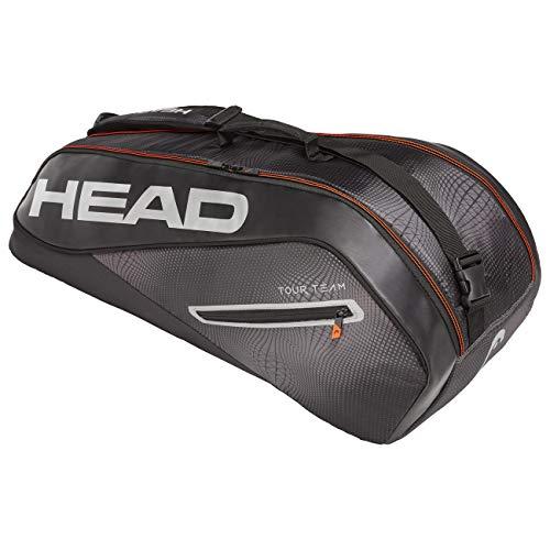 HEAD Unisex– Erwachsene Tour Team 6R Combi Tennistasche, Black/Silver, Einheitsgröße
