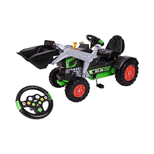 BIG - Jim Turbo - Trettraktor mit Soundlenkrad, inklusive BIG-Tractor-Sound-Wheel, Schaufel bis zu 3 kg...