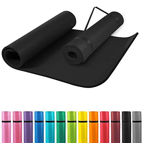 GORILLA SPORTS® Yogamatte mit Tragegurt 190 x 100 x 1,5 cm Rot rutschfest u. phthalatfrei – Gymnastik-Matte...