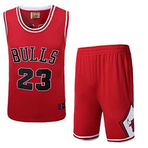 JX-PEP Männer Basketball-Trikots SE, 23# Bulls Basketball Uniform Sommer bestickte Hemd Weste Shorts, Rot,...