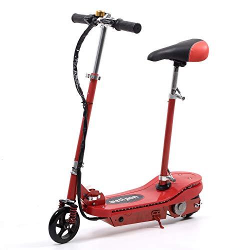 Rot Faltbarer Elektroroller mit Sitz für Erwachsene Kinder Mädchen Elektro Scooter mit LED Licht 150W Motor...