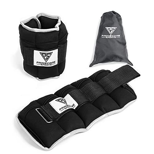 Primecore Sports Gewichtsmanschetten (2er Set) - 5kg verstellbare Gewichte für Beine und Arme mit...