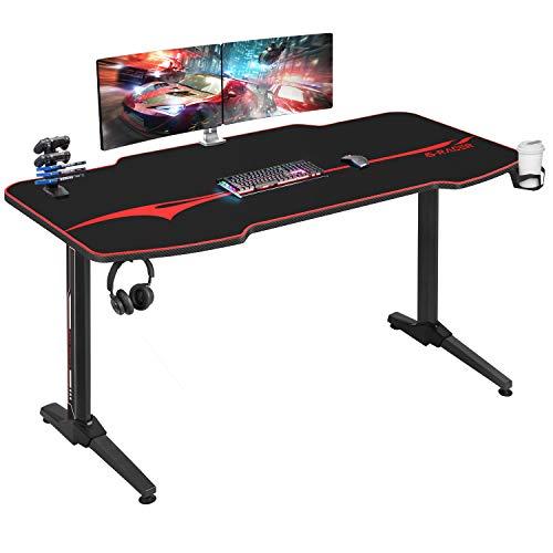 Homall Gaming Tisch 140 cm Gaming Schreibtisch Gamer Computertisch Ergonomischer PC Tisch mit Getränkehalter...