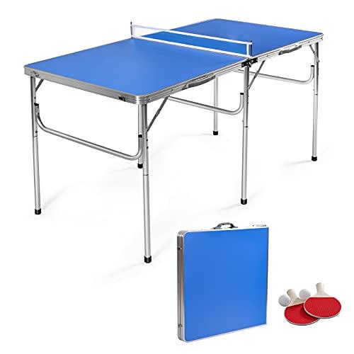 COSTWAY Tischtennisplatte mit Netz, 2 Schlägern und 2 Bällen, Tischtennistisch klappbar, Tischtennis Platte...