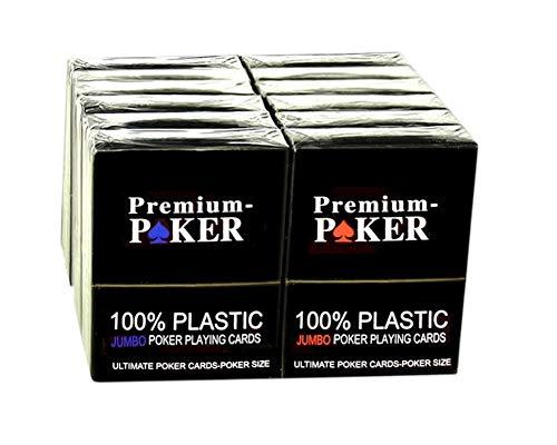 Neu  12 X Poker Karten Casino Qualität 100 % Plastik Grosser Index 4 Eckzeichen