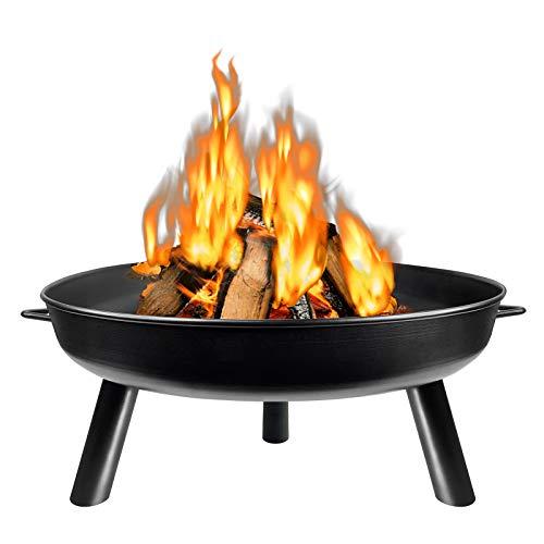 HENGMEI Φ80cm Feuerschale Feuerstelle Feuerkorb Fire Pit Metallschale mit 3 Beinen für Garten, Gemütliche...