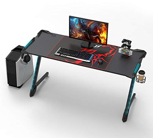 EUREKA ERGONOMIC Gaming Schreibtisch Mit RGB Beleuchtung Gaming Tisch Gamer Tisch 156 * 64 cm Schwarz