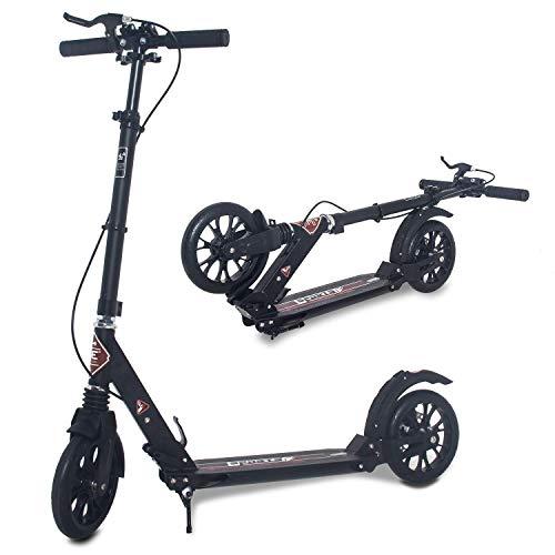 ISE Big Wheel Scooter Tretroller 200mm Roller Cityroller Klappbarer Scooter 93-107cm mit 2 Räder,Handbremse...