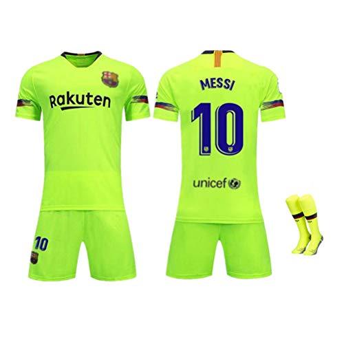 FRYP Barcelona Trikot 18-19 Barcelona Heimtrikot 10# Messi Kurzarmanzug Fußballuniform für Kinder-green-22