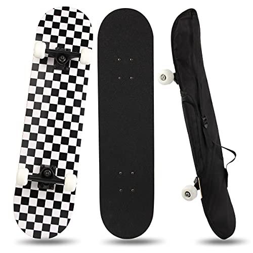 YINXN Skateboard, Komplettboard 7-lagiges Ahornholz-Deck-Skateboard mit ABEC-5-Kugellager-Skateboard, 80x20cm...
