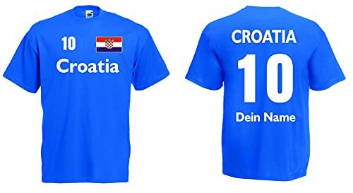 Croatia T-Shirt Herren Trikot mit Wunschname und Wunschnummer royal XL
