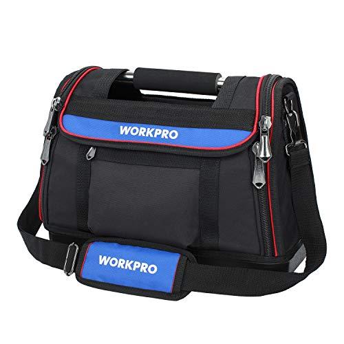 WORKPRO Werkzeugtasche 40x21x29CM, schwere Transporttasche aus 600D Polyester,offene Montagetasche mit...