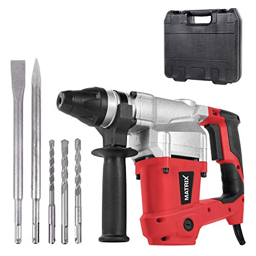 Matrix 120200440 Bohrhammer SDS Plus im Koffer, Stemmhammer 850 Watt, inkl. 2 Meißel, 3 Bohrer 8mm, 10mm,...