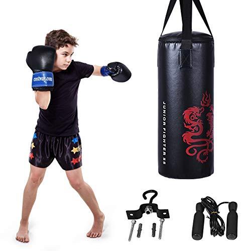 COSTWAY 10KG Boxsack-Set mit 8oz Boxhandschuhen und Springseil, Punchingsack für Kinder und Erwachsene,...
