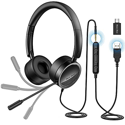 PC Headset mit Mikrofon New Bee USB/3,5mm Business Headset Noise Cancelling & Klare Stereo-Sound für Call...