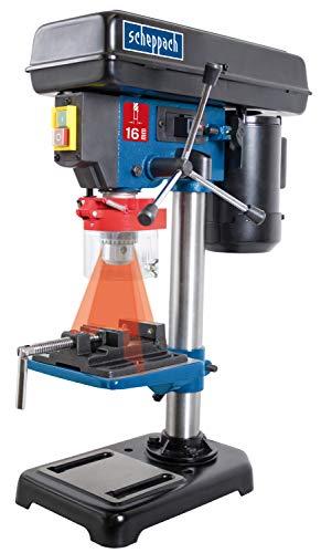 Scheppach Tischbohrmaschine DP16VL mit Schraubstock (500 W, Stahl-Konstruktion, 5 Geschwindigkeiten,...