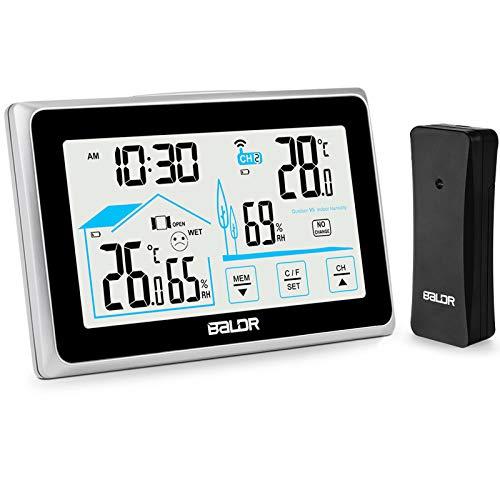 BACKTURE Wetterstation, Digitale Funk Thermometer-Hygrometer mit Außensensor Hintergrundbeleuchtung Innen und...