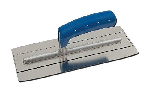 TREBI Doppelblatt Edelstahl-Glättekelle Softgriff blau 280 x 110 mm - Doubleflex - Profi Qualität - Made in...