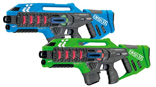 Jamara 410084 410084-Impulse Gun – Rifle Set blau/grün-Laser Tag mit 3 Battlemodi Spieler je Team, Last Man...