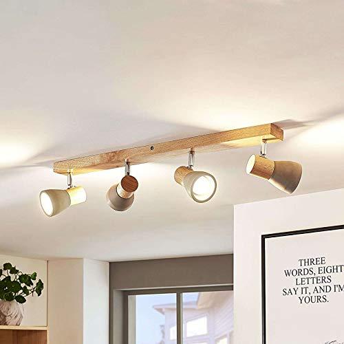 Lindby LED Deckenlampe Holz Beton | Deckenstrahler schwenkbar & drehbar | inkl. 4x4,5W LED austauschbar |...