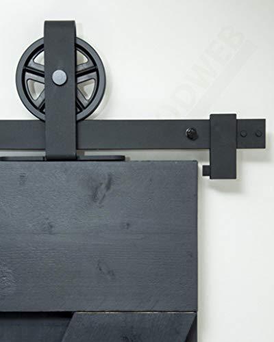Barnwoodweb Schiebetürsystem Speichenrad Oben 200cm Schiebetürbeschläge Speichenrad Oben Komplett-Set für...