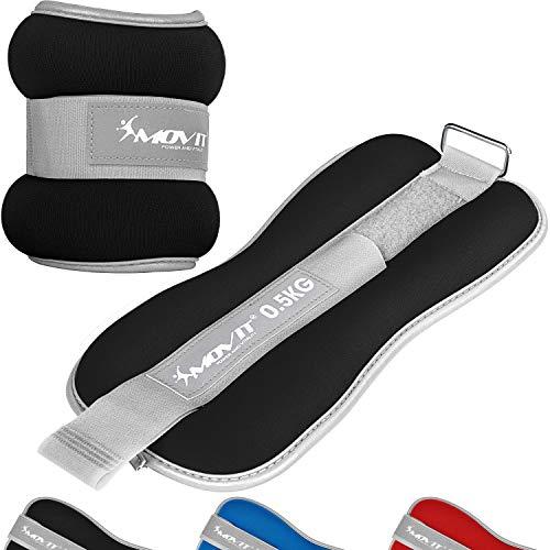 Movit® 2er Set Gewichtsmanschetten Neopren mit Reflektormaterial und Frottee-Einsatz Laufgewichte für Hand-...