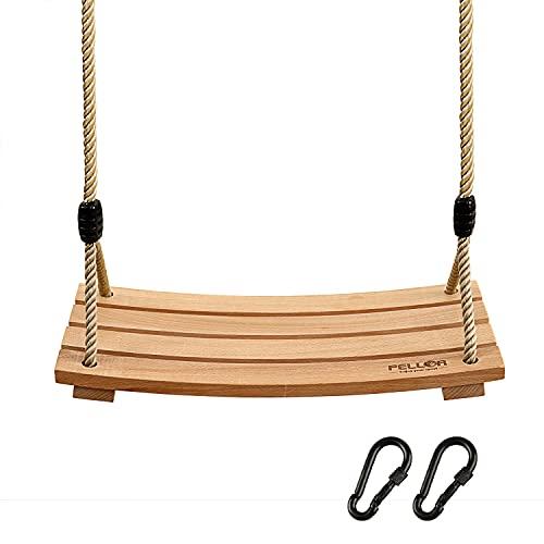 PELLOR Garten Schaukel Erwachsene Kinder Holz Schaukelsitz bis 100 kg mit Einstellbares Seil für Innen und...