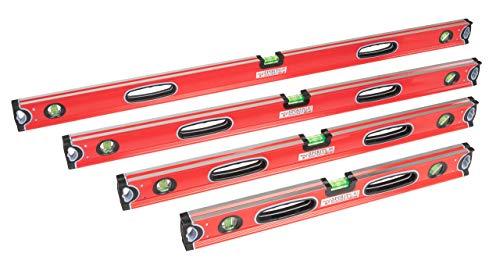 Profi Wasserwaagen-Set 4-teilig Rot 60, 80, 100 und 120cm mit zwei stoßfesten Blocklibellen und...