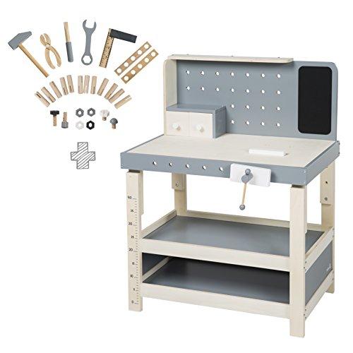 roba Werkbank, Spielwerkbank aus Holz, umfangreiches Werkzeug-Set, große Arbeitsplatte, Ablage, 3...