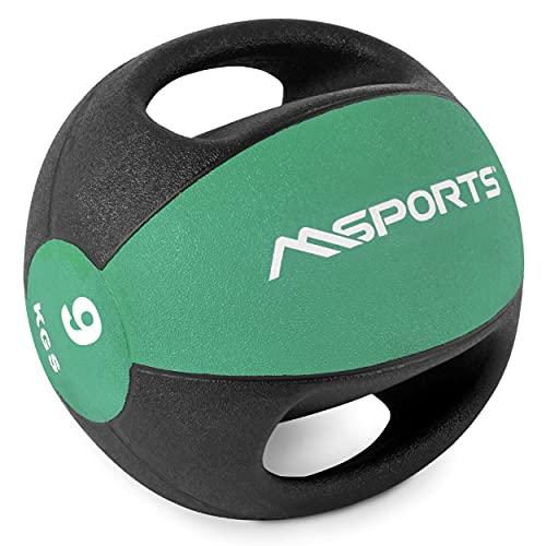 MSPORTS Medizinball Premium mit Griffe 1 – 10 kg – Professionelle Studio-Qualität Gymnastikbälle (9 kg -...