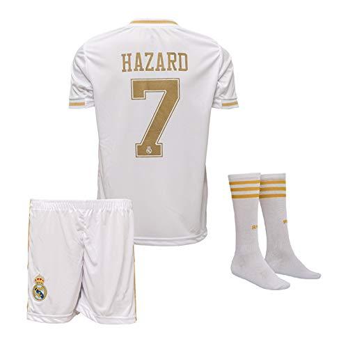 Real Madrid #7 Eden Hazard Trikot Set 2019-2020 Heim Kinder Fußball Trikot mit Shorts und Socken...