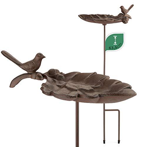 WILDLIFE FRIEND | Vogeltränke Frostsicher aus Gusseisen - mit Steckstab, Vogeltränke Stehend in Blattform -...