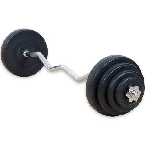 Movit® 23,5 kg Curlset, 1 SZ Curlstange gerändelt und verchromt mit Sternverschlüssen + 8 Gewichtsscheiben...