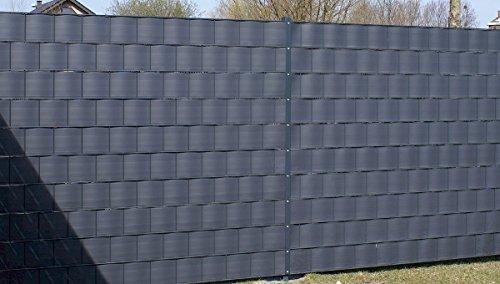 Gartenwelt Riegelsberger Premium Sichtschutzstreifen Hart-PVC für Doppelstabmatten Anthrazit RAL 7016 Länge...