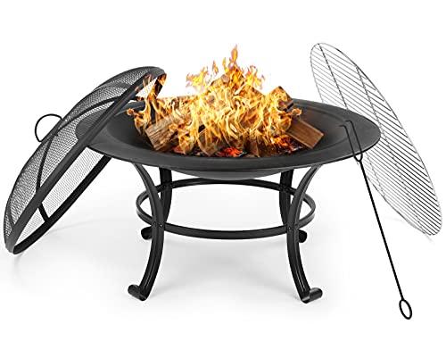 GARTIO Feuerschale(φ76X56cm), 2in1 Feuerstelle mit Grillrost für Wärme/Grill, Feuerschale mit Funkenschutz...