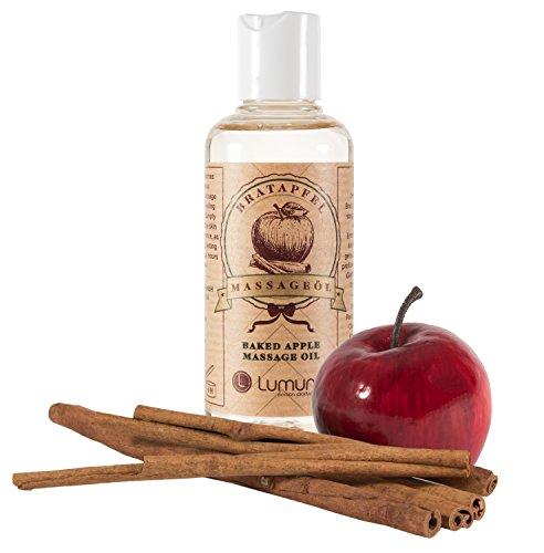 Erotik Massage-Öl mit winterlichem Duft von aphrodisierendem Zimt & Apfel (100ml) für Körper-Massagen,...
