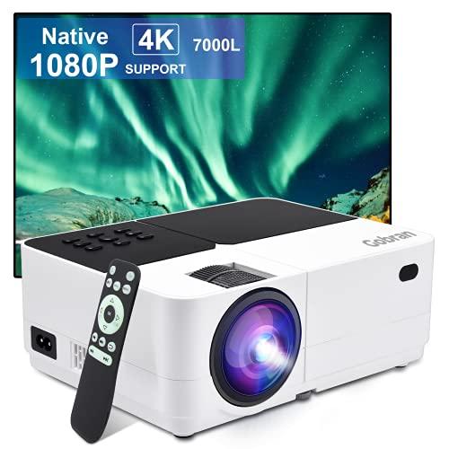 Beamer Native 1080P 7000 Lux Full HD, Mini Beamer Tragbar, Gobran Led Beamer 60000 Stunden LED, Heimkino...