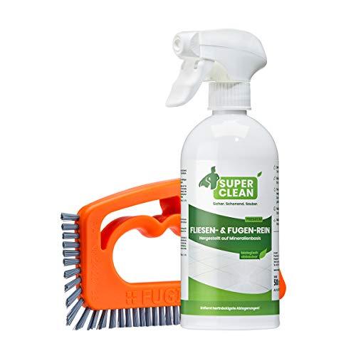 Super Clean Fliesen & Fugen-Rein (1 x 500 ml) + FUGINATOR Fugenbürste – zur optimalen Fugenreinigung in...