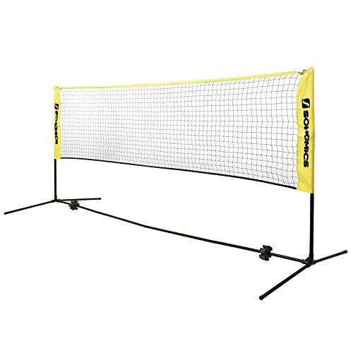 SONGMICS 3 m Badmintonnetz, Tennisnetz, höhenverstellbar, Set bestehend aus Netz, stabilem Eisen-Gestell und...