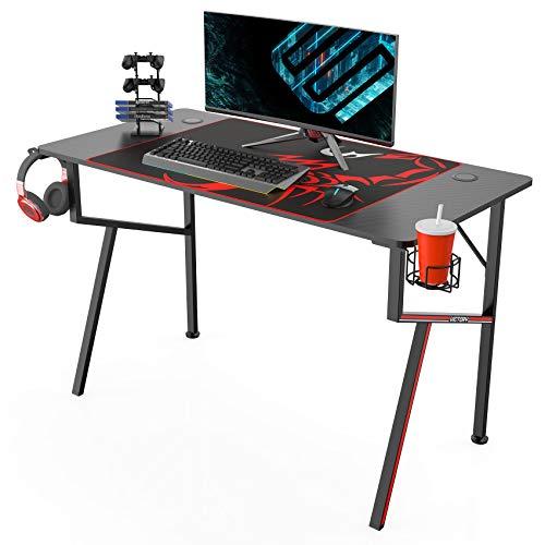 EUREKA ERGONOMIC Gaming Tisch K47 Gaming Schreibtisch Gaming Computertisch PC Schreibtisch mit Getränkehalter...