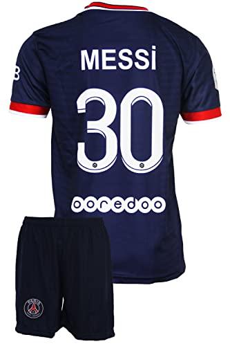 IHIMI Paris Lionel Messi Kinder Trikot #30, 2021/2022 Saison, Heim, Komm mit Shorts Fußballfans (6-7...