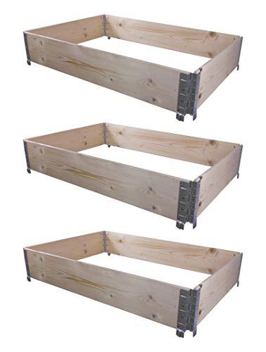 BigDean 3X Hochbeet Palettenrahmen 120x80x20cm groß - Holzrahmen faltbar, steckbar & stapelbar - ideal für...