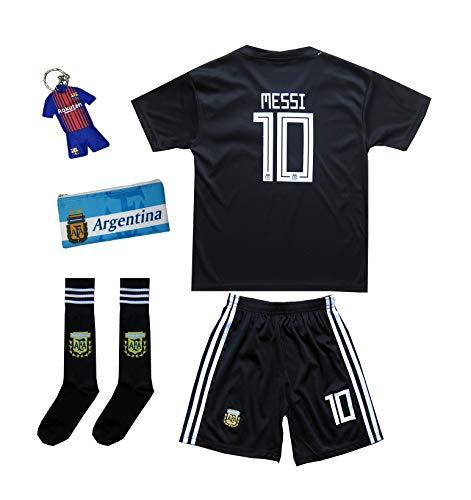 ATB Argentinien #10 Messi World Cup 18 Heim Kinder Trikot und Hose mit Dreiteiliges Geschenkset (104)