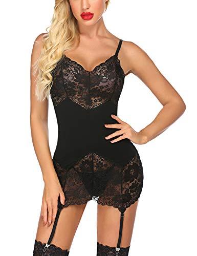 ADOME Reizwäsche Teddy Dessous Sexy Body Dessous Damen Spitze Negligee Erotik Bodysuit Strapse Unterwäsche...