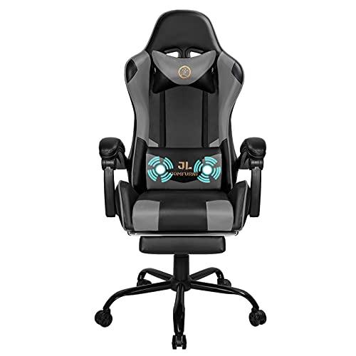 JL Comfurni Gaming Stuhl mit Massage Bürostuhl Ergonomischer Racing Computerstuhl mit Fußstütze PC Stuhl...