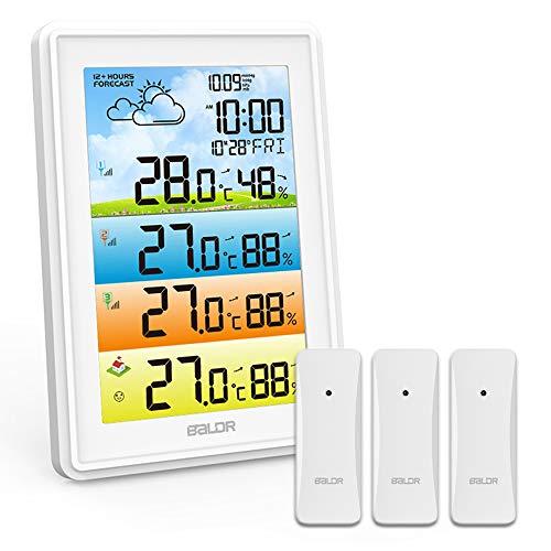 Konsen Wetterstation Funk mit 3 Außensensoren, DCF-Funkuhr Innen und Außentemperatur mit Wettervorhersage...