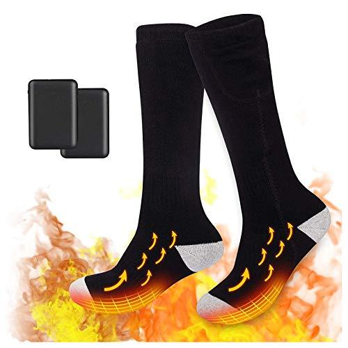 Beheizte Socken mit 2 Stück 5000mAh Power Bank, 3 Dateien Einstellbarer Temperatur, Beheizbare Kniestrümpfe...